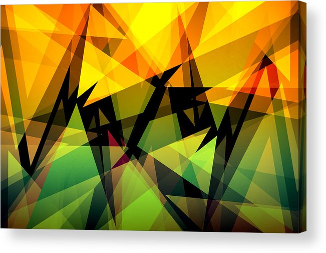 Abstract Acrylic Print featuring the digital art Abstract Triangle Colorful Background by Nattapon Wongwean