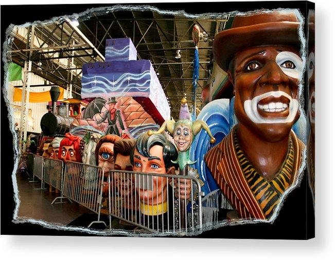 Mardi Gras World Acrylic Print featuring the photograph Barricade Heads by Linda Kish