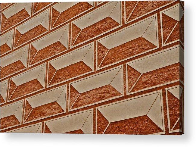 Cement Block Wall Design Acrylic Print featuring the photograph Cement Block Wall Design by Kirsten Giving