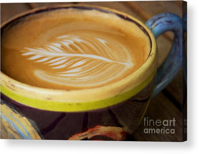 Coffee Acrylic Print featuring the photograph Coffee Art Leaf by Kim Fearheiley