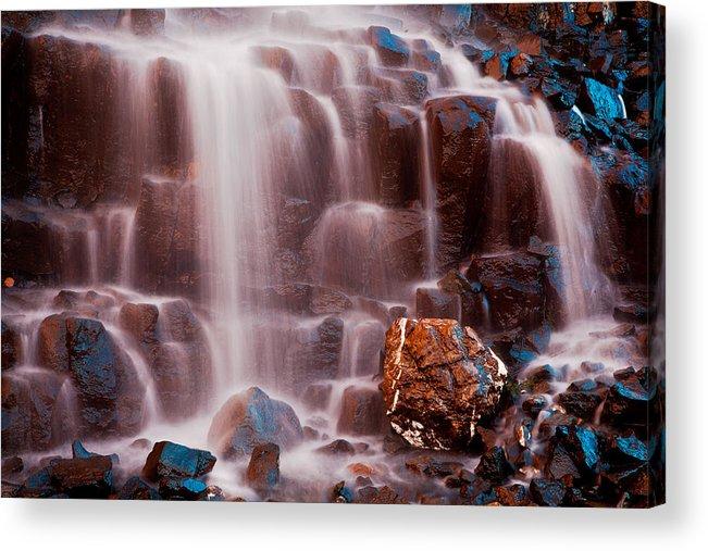 Waterfall Acrylic Print featuring the photograph Misty Waterfall by Manju Shekhar
