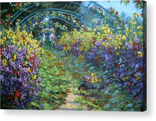 Claude Monets Garden In Fall Acrylic Print featuring the painting Monet's Autumn by L Diane Johnson