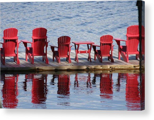 Muskoka Acrylic Print featuring the photograph Red Muskoka Chairs by Dr Carolyn Reinhart