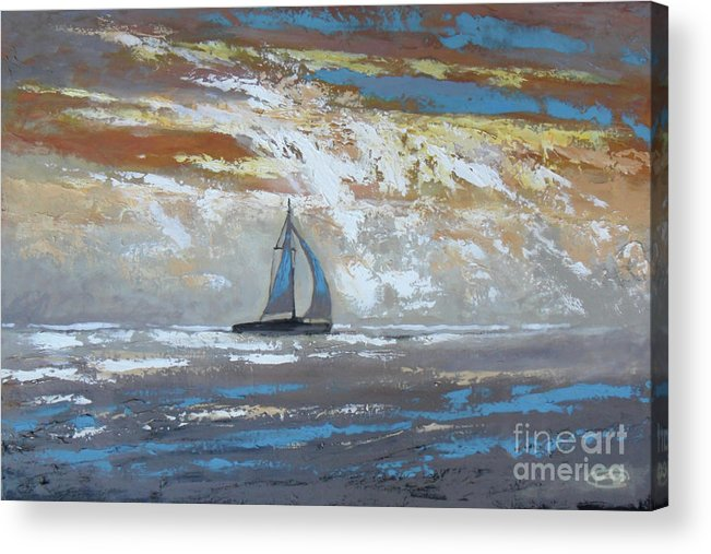Sail Boat Acrylic Print featuring the painting Sailing Through by Kip Decker
