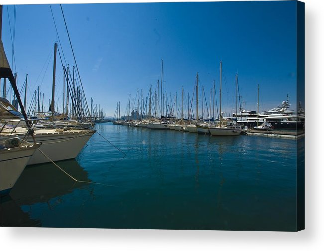 Ships Acrylic Print featuring the photograph Ships in Their Slips in Toulon by Richard Henne