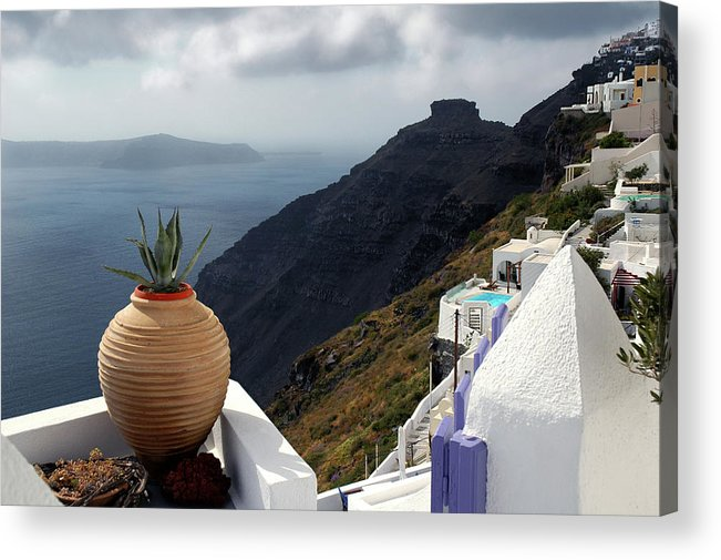 Greece Acrylic Print featuring the photograph Storm near Santorini by John Banegas