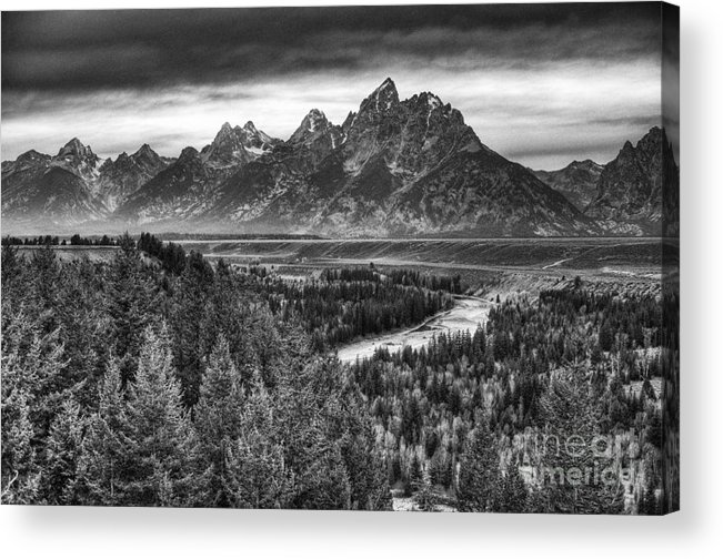 Places Acrylic Print featuring the photograph Tetons and the Snake by Dennis Hammer