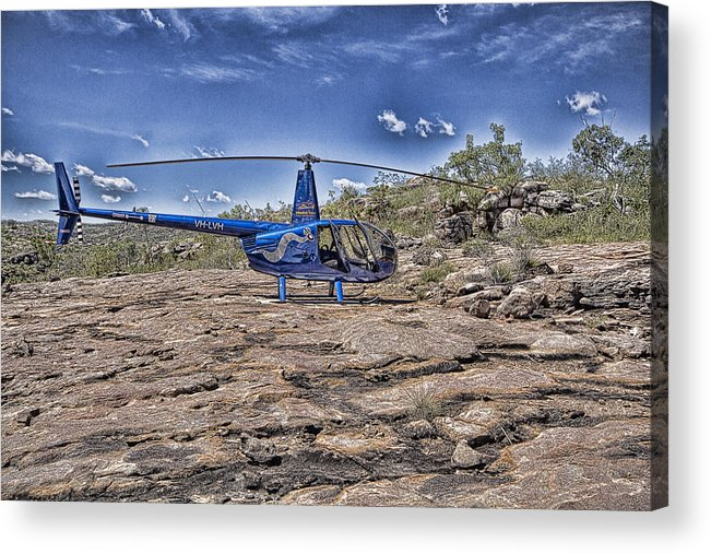 Helicopter Acrylic Print featuring the photograph Top of the Gorge by Douglas Barnard