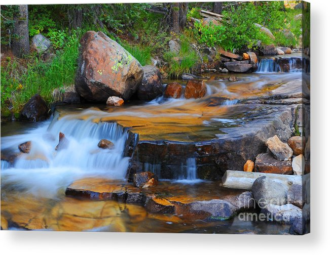 Waterfall Acrylic Print featuring the photograph Upper Provo River Cascade by Dennis Hammer