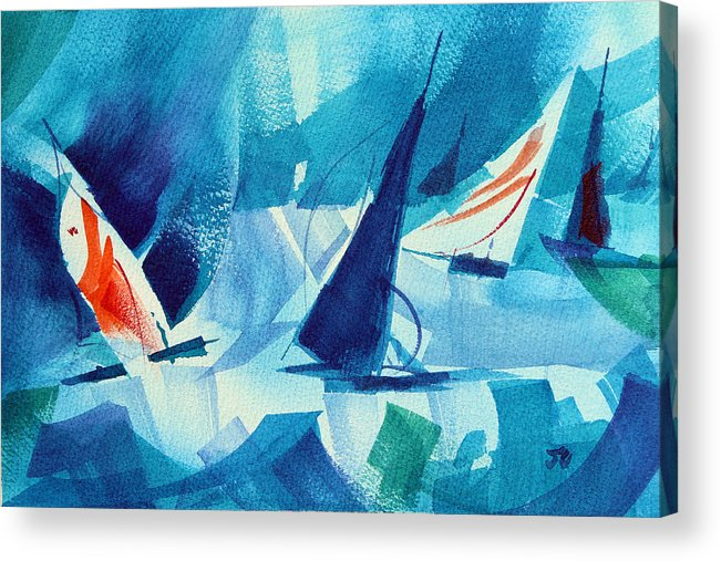 Sailboat Abstract Acrylic Print featuring the painting Watch Those Whitecaps. by Josh Chilton