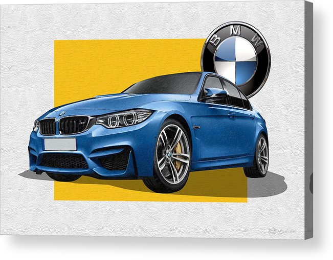 �bmw� Collection By Serge Averbukh Acrylic Print featuring the photograph 2016 B M W M 3 Sedan with 3 D Badge by Serge Averbukh