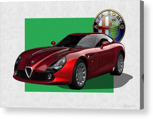 �alfa Romeo� By Serge Averbukh Acrylic Print featuring the photograph Alfa Romeo Zagato T Z 3 Stradale with 3 D Badge by Serge Averbukh