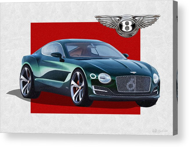 �bentley� Collection By Serge Averbukh Acrylic Print featuring the photograph Bentley E X P 10 Speed 6 with 3 D Badge by Serge Averbukh