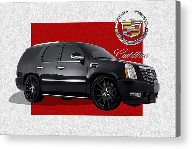 �cadillac� By Serge Averbukh Acrylic Print featuring the photograph Cadillac Escalade with 3 D Badge by Serge Averbukh