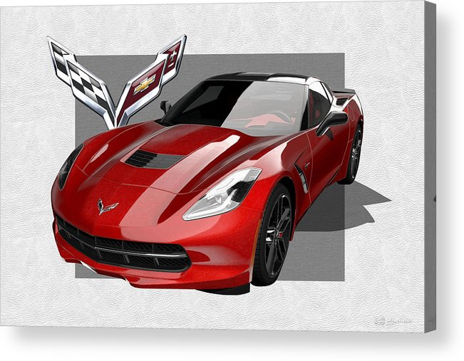 �chevrolet Corvette� By Serge Averbukh Acrylic Print featuring the photograph Chevrolet Corvette C 7 Stingray with 3 D Badge by Serge Averbukh
