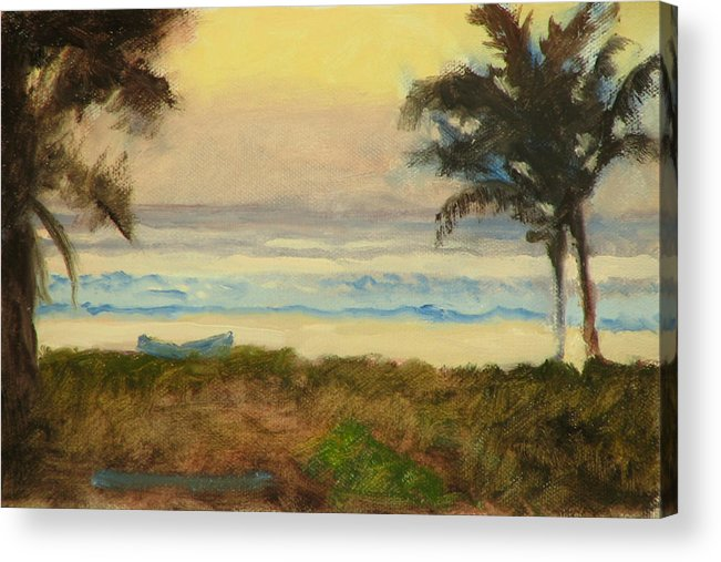 Ocean Acrylic Print featuring the painting Costa Rica Gold by Robert Bissett