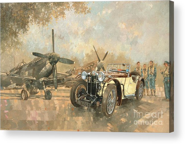 Vehicle; Airplane; Aeroplane; Plane; Military; Airforce; Vintage Car; Planes; Aeroplanes; Airplanes; Classic Cars; Auto; Spitfire Acrylic Print featuring the painting Cream Cracker MG 4 Spitfires by Peter Miller