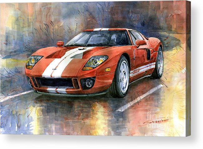 Watercolor Acrylic Print featuring the painting Ford GT 40 2006 by Yuriy Shevchuk
