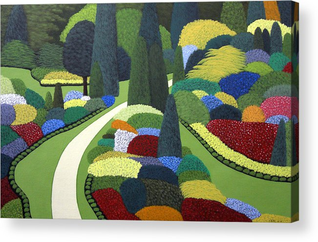 Floral Landscape Painting Acrylic Print featuring the painting Formal Garden on Canvas by Frederic Kohli
