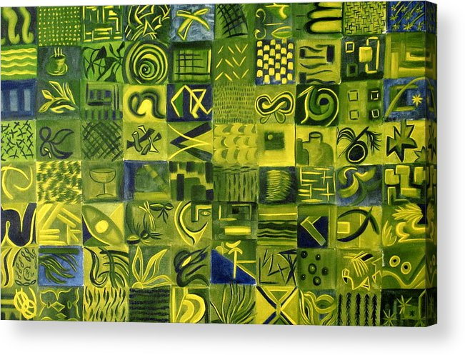 Green Acrylic Print featuring the painting Night On The Lawn by Patricia Cleasby