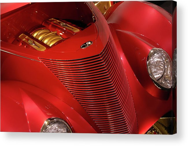 Car Acrylic Print featuring the photograph Red Classic Car Details by Maxim Images Prints