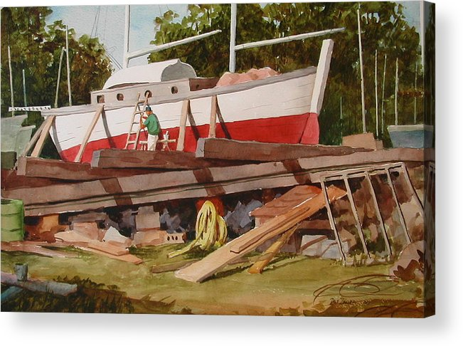 Boats Acrylic Print featuring the painting Second Time Around by Faye Ziegler