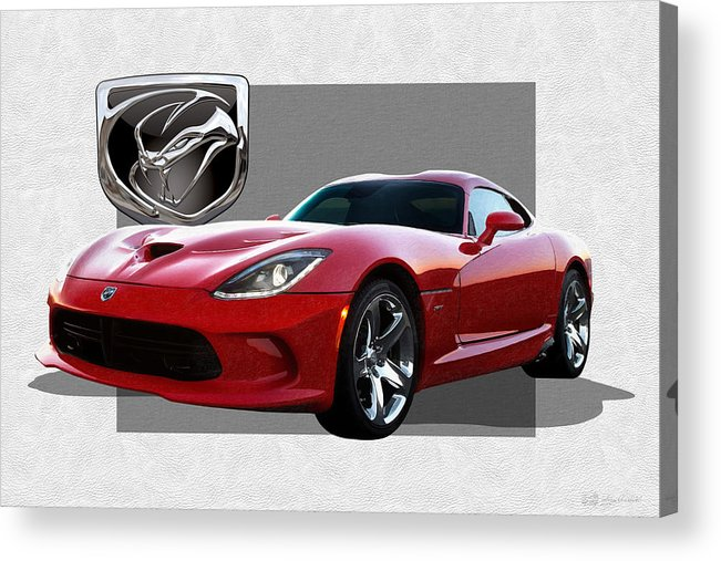 'dodge Viper' By Serge Averbukh Acrylic Print featuring the photograph S R T Viper with 3 D Badge by Serge Averbukh