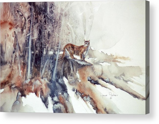 Cougar Acrylic Print featuring the painting Vantage Point by Lynne Parker