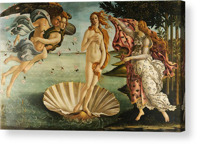 Sandro Botticelli Acrylic Print featuring the painting The Birth Of Venus by Sandro Botticelli