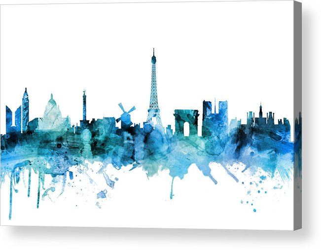 Paris Acrylic Print featuring the digital art Paris France Skyline by Michael Tompsett