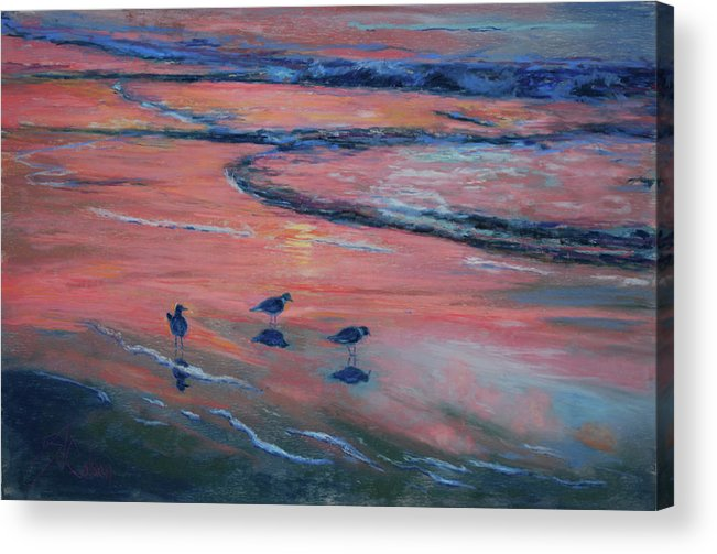 Sandpipers Acrylic Print featuring the painting Beach Combers by Billie Colson