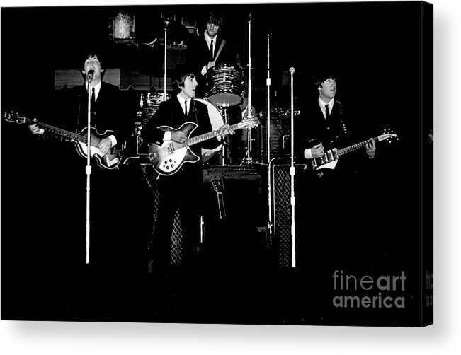 Beatles Acrylic Print featuring the photograph Beatles In Concert 1964 by Larry Mulvehill