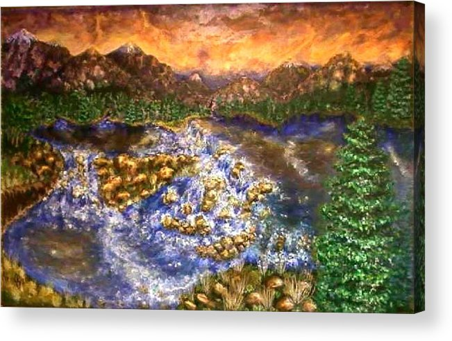 Lake Acrylic Print featuring the painting Lake Succession by Tanna Lee M Wells