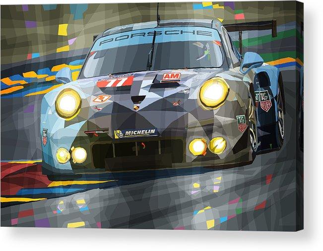 Automotive Acrylic Print featuring the digital art 2015 Le Mans GTE-Am Porsche 911 RSR by Yuriy Shevchuk
