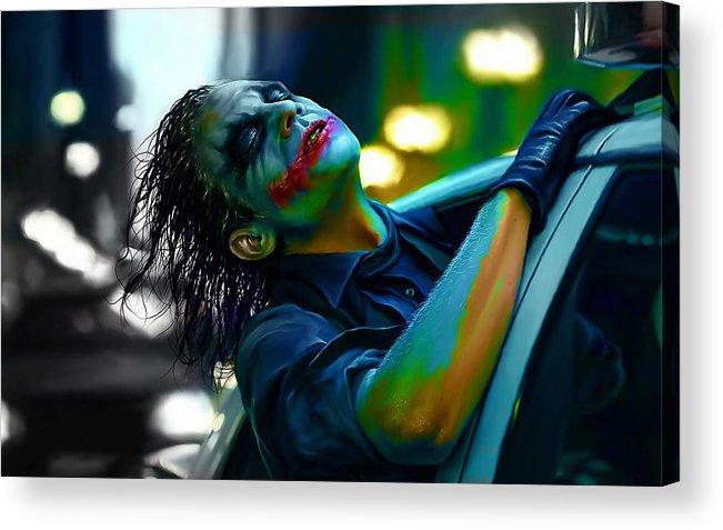 Joker Drawings Acrylic Print featuring the mixed media Heath Ledger by Marvin Blaine
