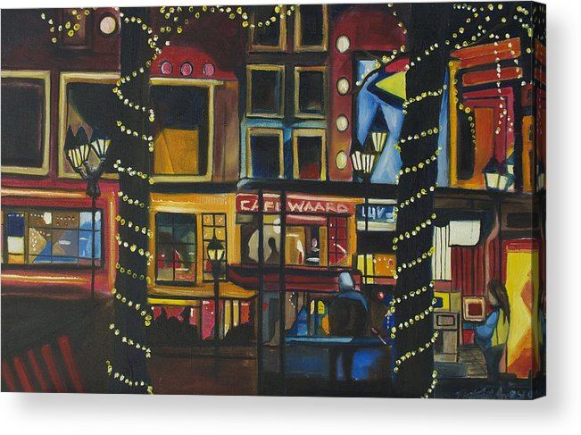 Cityscape Acrylic Print featuring the painting A Moment In Dam by Patricia Arroyo