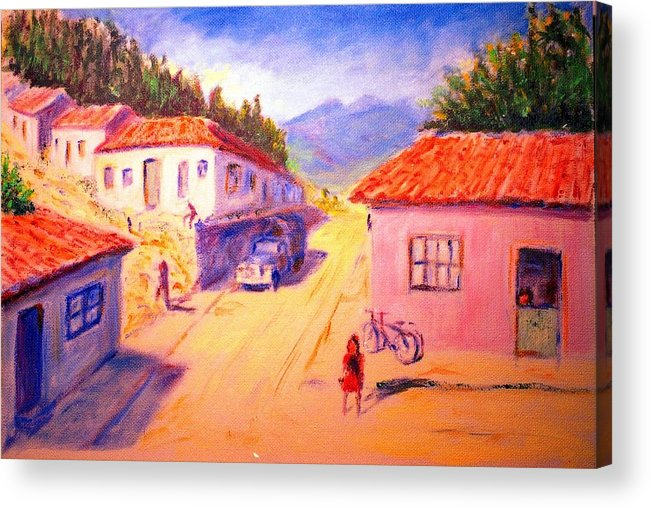 Oil Acrylic Print featuring the painting Andean Village by Horacio Prada