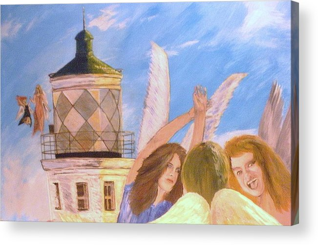 Look April Acrylic Print featuring the painting Aprils flying by J Bauer