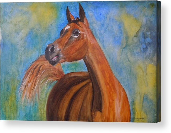 Horse Acrylic Print featuring the painting Arabian Beauty by Jean Blackmer