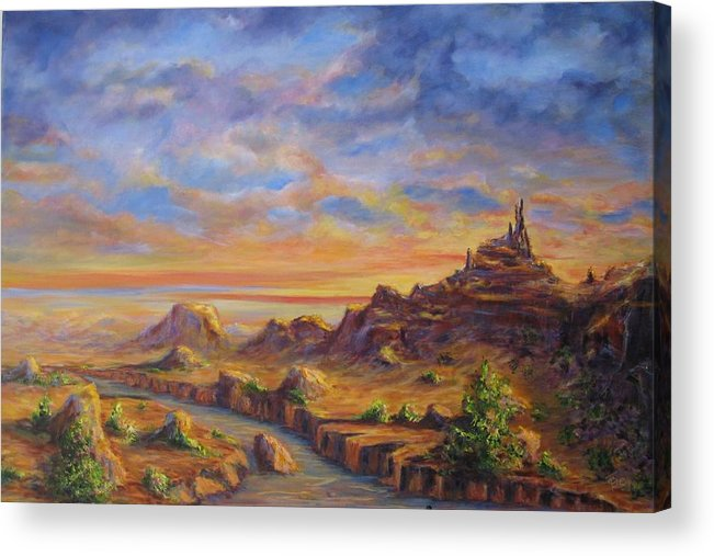 Desert Landscape Acrylic Print featuring the painting Arroyo Sunset by Thomas Restifo