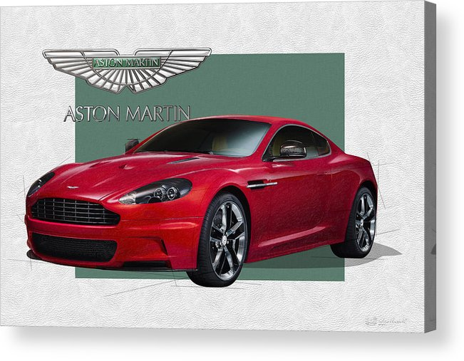 �aston Martin� By Serge Averbukh Acrylic Print featuring the photograph Aston Martin D B S V 12 with 3 D Badge by Serge Averbukh
