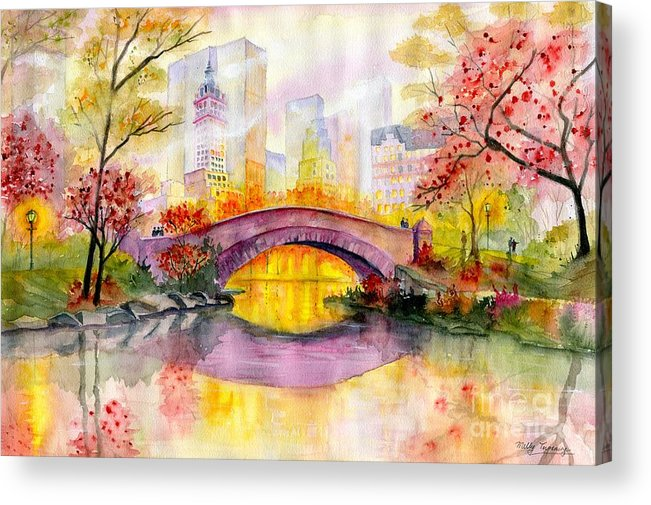 Autumn At Gapstow Bridge Central Park Acrylic Print featuring the painting Autumn at Gapstow Bridge Central Park by Melly Terpening