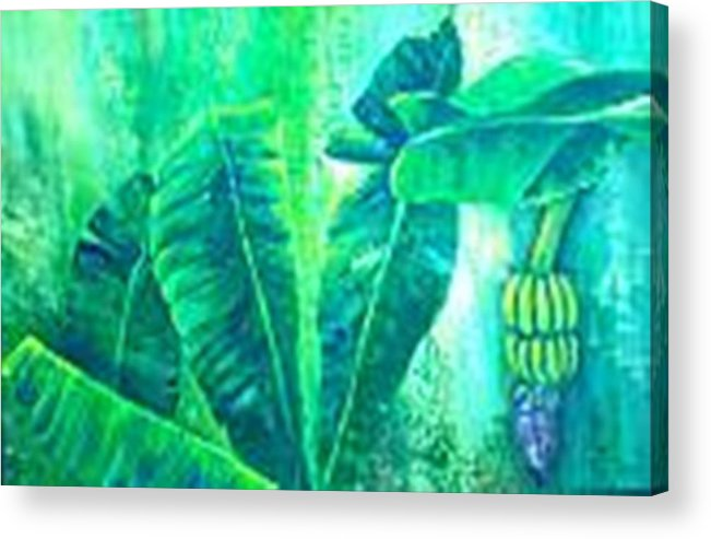 Acrylic Print featuring the painting Banan Leaves 5 by Carol P Kingsley