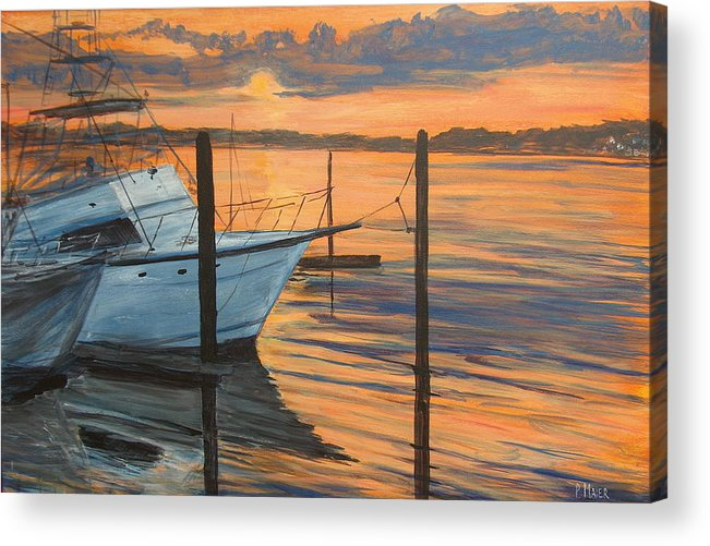 Sunset Acrylic Print featuring the painting Belmar Sunset II by Pete Maier