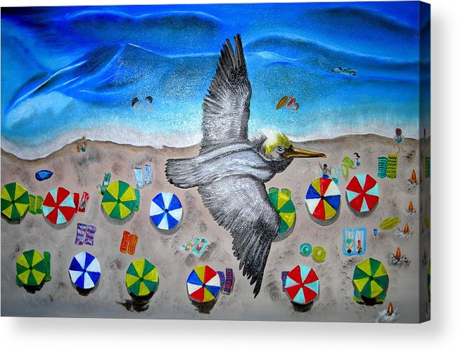 Pelican Acrylic Print featuring the painting Bird by Kathern Welsh
