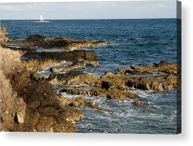 Sailboat Acrylic Print featuring the photograph Black Rock Point and Sailboat by Jean Macaluso
