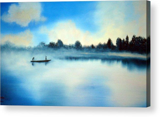 Blue Acrylic Print featuring the painting Blue Lagoon by SueEllen Cowan