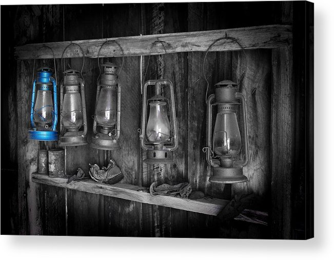 Darin Volpe Ruins Acrylic Print featuring the photograph Blue Lantern - Bodie State Historic Park by Darin Volpe