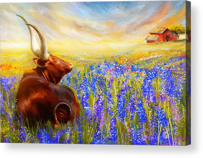 Texas Longhorn Acrylic Print featuring the painting Bluebonnet Dream - Bluebonnet Paintings by Lourry Legarde