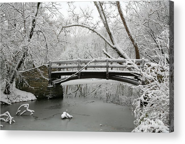 Bridge Acrylic Print featuring the photograph Bridge in Winter by Timothy Johnson